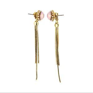 Fashion pink crystal tassel earrings